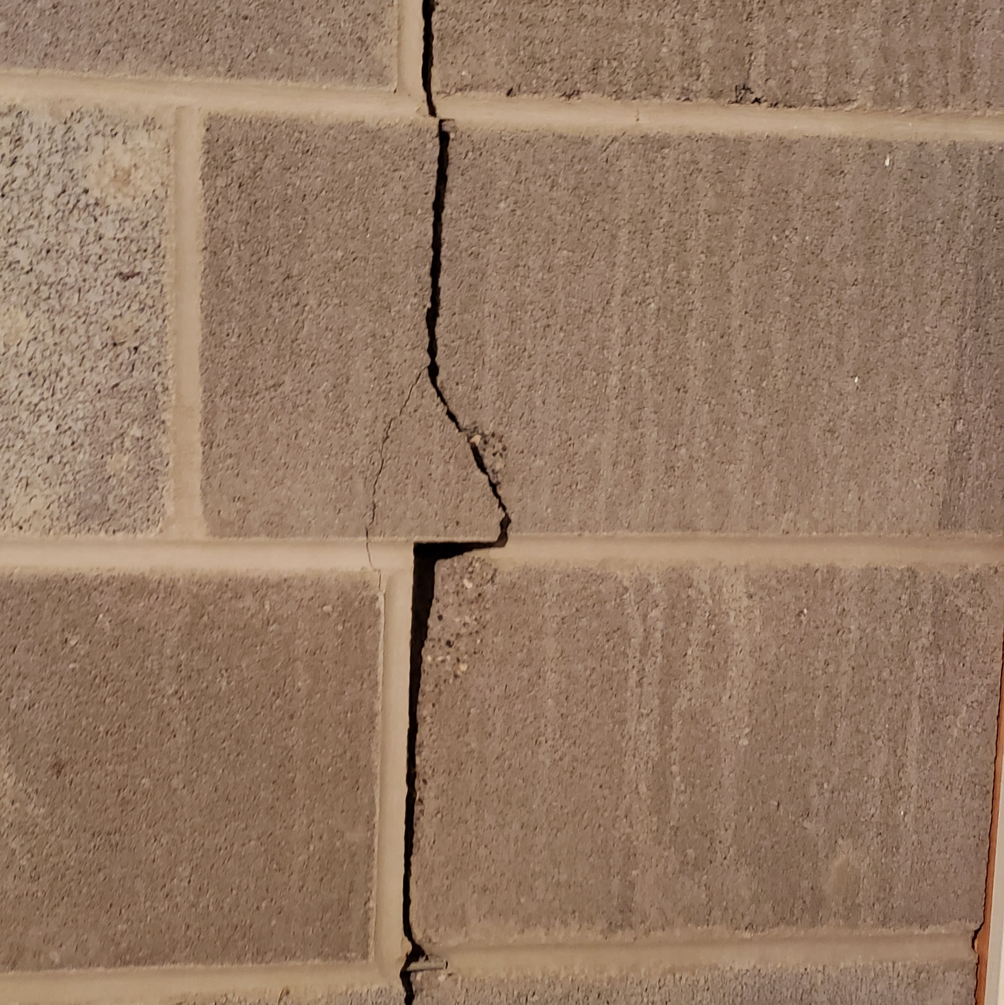Vertical Crack in Cement Block Wall